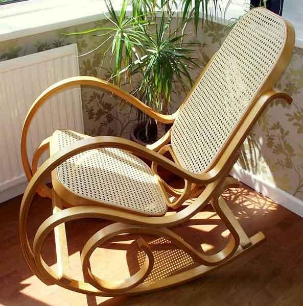 Rocking chair bois de bouleau rotin