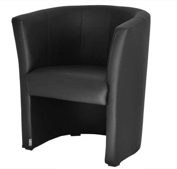 Fauteuil Cabriolet en simili cuir noir